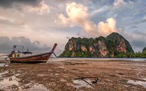 Papel de Parede Desktop Tailândia Costa Barcos Penhasco Nuvem Krabi Naturaleza