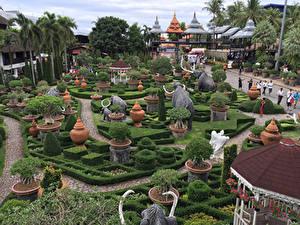 Bilder Thailand Park Skulpturen Elefanten Design Strauch Palmen Nong Nooch Tropical Botanical Garden Natur