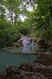 Desktop hintergrundbilder Thailand Parks Stein Wasserfall Erawan Nationalpark Natur