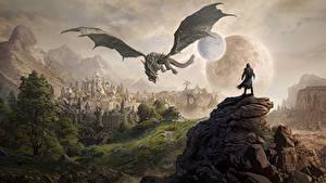 Fotos The Elder Scrolls Drache Gebirge Burg Spiele Fantasy