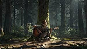 Hintergrundbilder The Last of Us 2 Baumstamm Gitarre Sitzt Ellie computerspiel