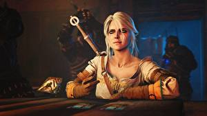 Hintergrundbilder The Witcher 3: Wild Hunt Blondine Sitzt Sitzend Computerspiel Cirilla Fiona Elen Riannon, Gwent :The Witcher Card Game Spiele 3D-Grafik Mädchens