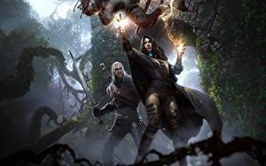 Fotos The Witcher 3: Wild Hunt Geralt von Rivia Magie Magier Hexer Schwert Yennefer Fantasy Mädchens