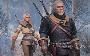Hintergrundbilder The Witcher 3: Wild Hunt Geralt von Rivia Krieger Ciri Spiele Mädchens