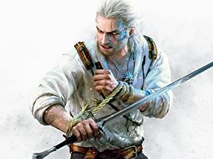 Bilder The Witcher 3: Wild Hunt Krieger Geralt von Rivia Mann Schwert Hearts of Stone