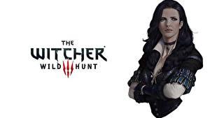 Bilder The Witcher 3: Wild Hunt Weißer hintergrund Brünette Yennefer Spiele