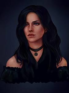 Hintergrundbilder The Witcher Haar Brünette Yennefer computerspiel Mädchens