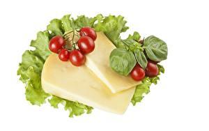 Bilder Tomate Käse Weißer hintergrund Blattwerk