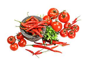 Hintergrundbilder Tomate Chili Pfeffer Weißer hintergrund das Essen