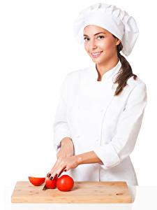Hintergrundbilder Tomate Weißer hintergrund Küchenchef Uniform Lächeln Mütze Mädchens