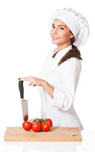 Bilder Tomaten Weißer hintergrund Köche Uniform Lächeln Blick Mädchens
