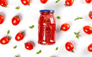 Desktop hintergrundbilder Tomaten Weißer hintergrund Weckglas Ketchup Lebensmittel