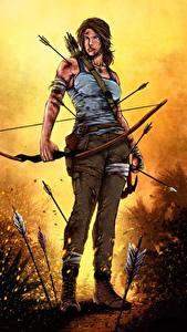 Bilder Tomb Raider 2013 Lara Croft Bogen Waffen Mädchens