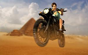 Bilder Tomb Raider Anniversary Tomb Raider Lara Croft Motorradfahrer Spiele Mädchens Motorrad