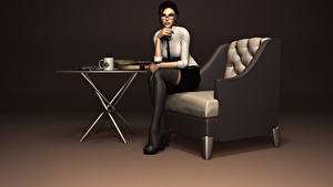 Fotos Tomb Raider Lara Croft Brille Sessel computerspiel 3D-Grafik Mädchens