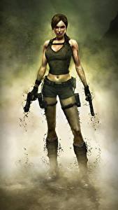 Fotos Tomb Raider Underworld Pistolen Lara Croft Mädchens 3D-Grafik