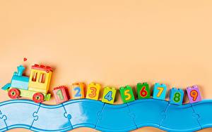 Bilder Spielzeug Züge Farbigen hintergrund