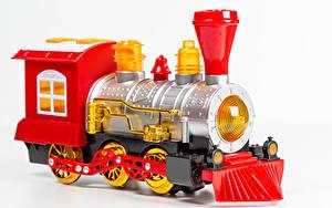 Fotos Spielzeug Züge Weißer hintergrund