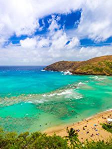 Fotos Tropen Küste USA Ozean Hawaii Strand Wolke Kleine Bucht Natur