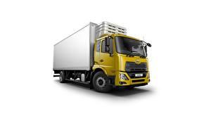 Bilder Lastkraftwagen Gelb Weißer hintergrund Japanisches UD Trucks, Croner, cooler Autos