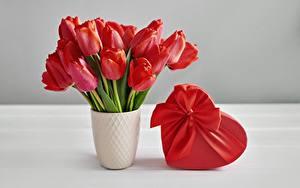 Bilder Tulpen Blumensträuße Valentinstag Vase Schachtel Schleife Geschenke Herz Blüte