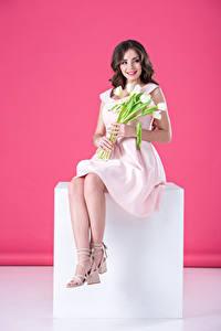 Bilder Tulpen Braunhaarige Lächeln Kleid Sitzend Mädchens