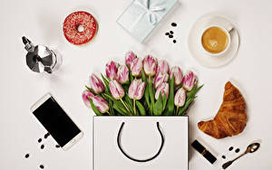 Wallpaper Tulips Purse Croissant Doughnut Coffee Cappuccino Still-life Gray background Smartphone Cup Spoon Present Flowers