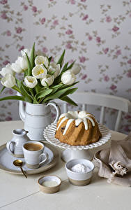 Picture Tulips Pound Cake Coffee Vase Cup Plate Spoon Food