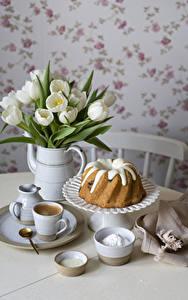 Bilder Tulpen Keks Kaffee Vase Tasse Teller Löffel