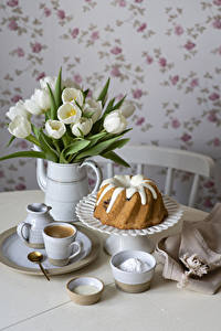 Bilder Tulpen Keks Kaffee Vase Tasse Teller Löffel Lebensmittel