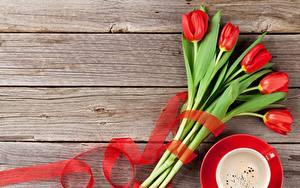 Fotos Tulpen Rot Bretter Vorlage Grußkarte Blüte
