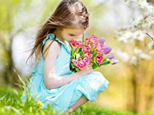 Image Tulips Spring Little girls Brown haired Frock Children