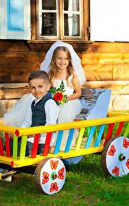 Picture 2 Boys Little girls Groom Brides Smile Children