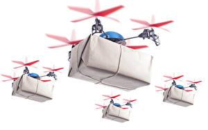 Hintergrundbilder UAV Quadrokopter Flug Schachtel Weißer hintergrund Luftfahrt
