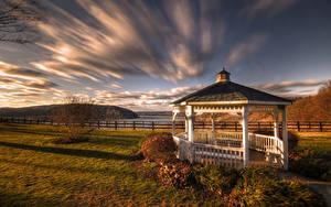 Bilder Vereinigte Staaten Herbst Pennsylvania Wolke HDR Klinesville, Gazebo