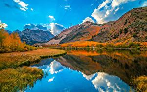 Bilder USA Herbst Berg Flusse Kalifornien Wolke Spiegelt