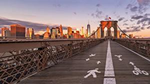 Bilder USA Brücke Gebäude New York City Brooklyn Bridge Städte