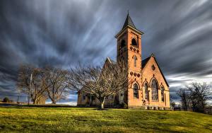 Bilder Vereinigte Staaten Kirche Bäume HDR Pennsylvania