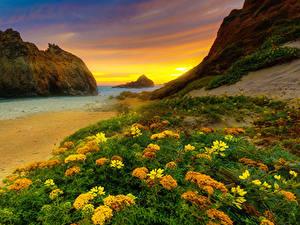 Hintergrundbilder Vereinigte Staaten Küste Abend Sonnenaufgänge und Sonnenuntergänge Kalifornien Felsen HDR Natur