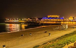 Hintergrundbilder Vereinigte Staaten Küste Gebäude Bootssteg Kalifornien Nacht Strände Redondo Beach
