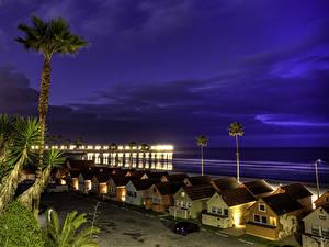 Bilder USA Küste Gebäude Himmel Kalifornien Nacht Oceanside Städte