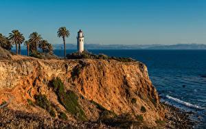 Bureaubladachtergronden Verenigde staten De kust Vuurtoren Californië klif landform Palmen Point Vicente Lighthouse, Rancho Palos Verdes