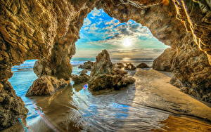 Bilder Vereinigte Staaten Küste Kalifornien Felsen HDR Malibu Beach Natur