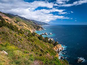 Fondos de escritorio EE.UU. Costa Océano California Nube Roca Big Sur Naturaleza