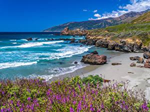 Bilder USA Küste Ozean Berg Steine Kalifornien Big Sur