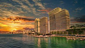 Bilder USA Küste Sonnenaufgänge und Sonnenuntergänge Haus Seebrücke Miami