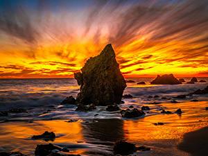 Desktop hintergrundbilder USA Küste Sonnenaufgänge und Sonnenuntergänge Ozean Kalifornien Felsen El Matador Beach Natur
