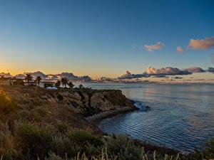 Bilder USA Küste Sonnenaufgänge und Sonnenuntergänge Ozean Kalifornien Felsen Pelican Cove