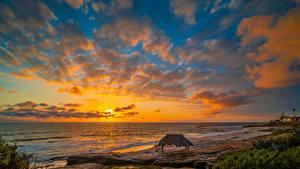 Hintergrundbilder Vereinigte Staaten Küste Sonnenaufgänge und Sonnenuntergänge Ozean Himmel Kalifornien Wolke Strand Windandsea Beach Natur