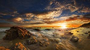 Hintergrundbilder Vereinigte Staaten Küste Morgendämmerung und Sonnenuntergang Stein Himmel Landschaftsfotografie Ozean Wolke El Matador State Beach Malibu